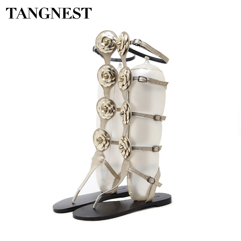 Tangnest Knee High Sexy Gladiator Sandals Woman Summer Cut-out Buckle Woman Flats Fashion Lady Flip Flops Roman Sandals XWX6723 <br>