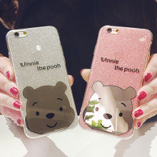 Glitter Powder plating bear Soft TPU phone Case For iPhone 8 6s 7 plus Ultra Slim bling Shinning cartoon winnie pooh Back Cover(China)