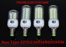 HOT SALE! LED Light Warm White E27 LED Bulbs 7W 9W 12W 15W 18W SMD 5730 With Cover GU10 E14 B22 G9 LED Corn Bulb(China)