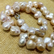 large size Baroque keshi stely wholesales Peanut shape natural freshwater pearl necklace statement white(have pink) fine jewelry