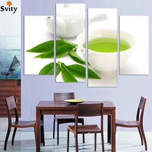 Buy Wall Art 4 Piece Canvas Kitchen Modern Wall Green Tea Painting Home Art Picture Paint Canvas Prints Decor Cuadros De Lienzo for $38.53 in AliExpress store