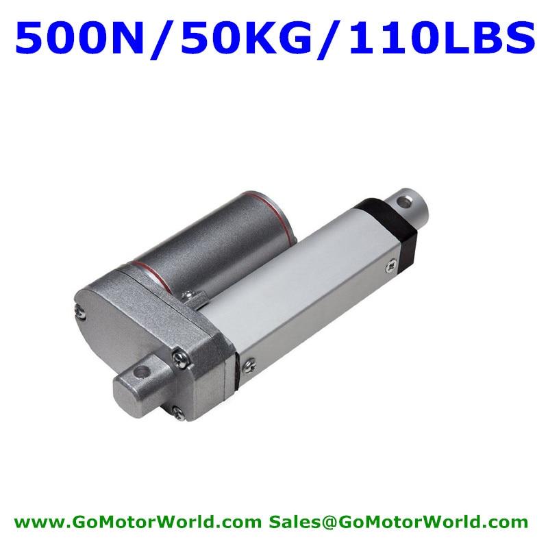 Waterproof 12V 50mm 2inch stroke 500N 50KG load 20mm/s speed heavy duty linear actuator free shipping<br>