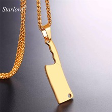 Starlord Cleaver Pendant Necklace Kitchen Knife Charm Stainless Steel/Gold Color Chain Hip Hop Design Geekery Jewelry GP2642(China)