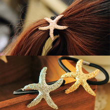Summer Style Newest Fashion Cute Starfish Hair Accesories Gold/ Silver Plated Elastic Sea Star Hair Bands Korean Jewelry