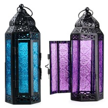 2017 moroccan lanterns Glass Metal Delight Garden Candle Holder Table/Hanging Lantern for both indoors and outdoors blue/ purple(China)
