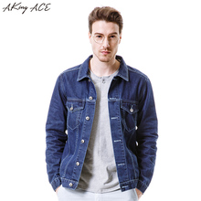 2017 AKing ACE New Arrival Mens Denim Jacket with Pockets Male Classic Jeans Jackets Man Dark Blue Jacket Retro ,ZA285(China)