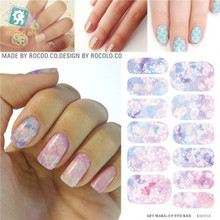 RU2PCS K5711B Water Transfer Foil Nail Sticker Pink Flower Design Nails Stickers Manicure Styling Tools Water Film Paper Decal(China)