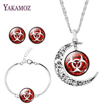2017 New Arrival Silver Color Jewelry Set Earrings& Bracelet& Necklace Trendy Moon Dangerous goods mark Unique Jewelry For Women
