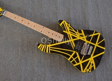 top quality QShelly custom black&yellow kramer guitar 5150 EVH series 6 string electric guitars musical instrument guitarra shop