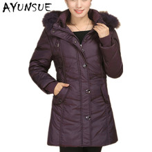 Whie Goose Down Jacket Women Winter Long Coat 2017 Thick Warm Fur Hooded Coat Outerwear Parka Plus Size 4XL CP0175