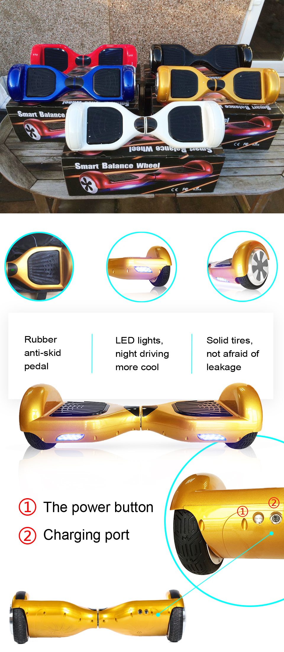 Electric Skateboard Self Balancing Scooter two wheel 6.5 hoverboard(7)