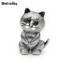 Lovely Fat Alloy Black Cat Brooch Suits Sweater Scarf Men And Women Brooches Pin Size 3.4*2.5CM