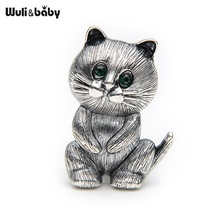 Lovely Fat Alloy Black Cat Brooch Suits Sweater Scarf Men And Women Brooches Pin Size 3.4*2.5CM(China)