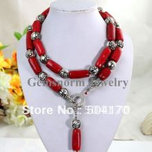 Charming Column Red Coral Necklace African Beads Necklace Flower Alloy Beads Findings  Free Shipping CNR042