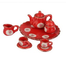 8Pcs/Set 1:12 Dollhouse Miniature Dining Ware Porcelain Tea Set Dish Cup Plate Red(China)