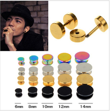 1 piece Fake Ear Plug Stud Stretcher Ear Tunnel Earring Stainless Steel Body Piercing Jewelry 6-14mm Black/Silver/Gold/Colorful