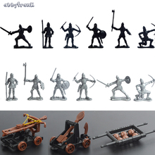 Abbyfrank 15Pcs/Set Ancient Medieval Soldiers Figures Toy Military Knights Model Catapult Crossbow Plastics Game For Children(China)