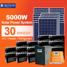 5000W solar energy system pv panel price 5000W off grid home solar system solar cells with solar battery pureSineOutput inverter