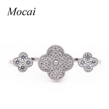 Special Design Four Leaf Clovers Double Finger Party Rings for Women Opening Adjust Gold Color Cubic Zirconia Jewelry ZK35(China)