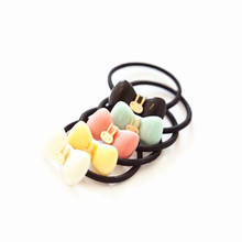 Candy-colored Rabbit Bow Hair Ring Hair Rope Elastic Rubber Band send by random color  JWD61