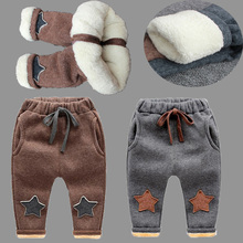 BibiCola New Baby Pants Thick Winter Baby Child Trousers Star Pants Children Leggings Kids Thick Velvet Pants Boys Warm Trousers(China)