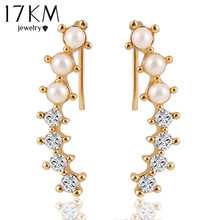 17KM Fashion Hot Ladies Womens Sweet Gold Color simulated Pearl Crystal 6 Beads Cuff Ear Clips Earring Style Earrings Jewelry(China)