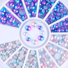 Semi-circle Pearl Bead Nail Decoration Gradient Flat Bottom Blue White  Mixed Size Manicure 3D Nail Decoration