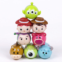 Toy Story Woody Buzz Lightyear Jessie Alien Monsters Inc Mike Sullivan Mini PVC Action Figures Layer stack Toys 8pcs/set