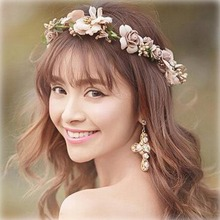 2017 Chiffon Ribbon Flower Headband For Lady Women Adjustable Bride Wedding Wreath Garlands Hair Band Accessories
