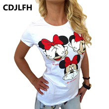 CDJLFH T-shirt Sexy Women 2017 Kawaii Cartoon Women's Tshirt Female Funny T Shirt Women Top Tee Summer Soft Clothes(China)