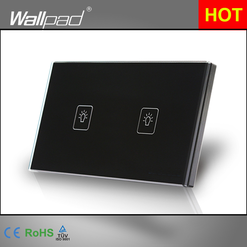 2 Gang 2 Way 3 Way Black AU US Standard 118*72mm Wallpad Crystal Glass Two Way Control Touch Switch,  Free Shipping<br><br>Aliexpress
