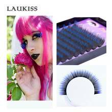 12 Rows/tray Black-Blue Two Colors Lashes Tone Colored Eyelashes Extension Individual LAUKISS Professional Kits Permanent Cilios