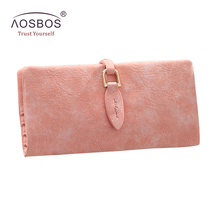 Aosbos Fashion Women PU Leather Slim Wallets Purses Ladies Solid Zipper Hasp Card Holder Vintage Leaf Long Bifold Pink Wallet(China)