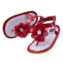 Girls Summer Lovely Flower 6 Colors Newborn Baby Toddler Sandals PU Hook Infant Shoes Sandals 0M-18M(China)
