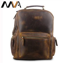 MVA Crazy Horse Leather Backpack Men Backpacks Casual Daypacks Leather Laptop Bag 14 inch Men's Travel Shoulder Bags Male Bag