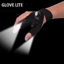 New Outdoor camping hiking Magic Strap Fingerless Glove LED Flashlight Torch Cover Survival repair Rescue Tool(China)