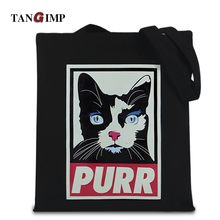 TANGIMP Purr Cool Cat Canvas Shopping Handbag Eco einkaufstasche bolsa compra Handmade Women Shoulder Bags Tote Beach Bags
