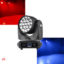 (6pcs/lot) led wash zoom moving head 19x12w with RGBW dmx 512 16 channels for dj disco dmx moving head washing light