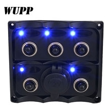WUPP 12V-24V Waterproof 5-Gang Toggle Switch Panel With Fuse LED Indicators Switch For Car Boat Marine 4.2A Cigarette Lighter(China)