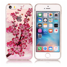 Fruit Roses Flower Butterfly Panda Puppy Feather Princess Silicone Case For iphone 5s 5 SE Soft TPU+IMD Glitter Phone Case(China)