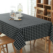 1 pcs Black Tablecloth Dark Plaid European Style Table Cloth Cotton Line Edge Table Cover Rectangular