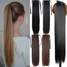 56cm Fashion Women Long Straight Ponytail Synthetic Hairpiece Natural Hair for Cosplay Working Pony Tail Clip in Hair Extensions