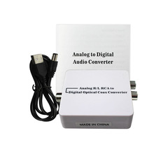Converts analog L/R audio to Coaxial or Toslink digital audio signals,Analog Audio to Digital Optical Coax Toslink Voice Adapter