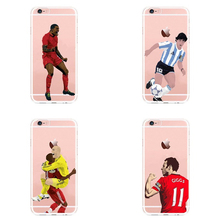 For iPhone 6S 5 6 7 7 Plus X Transparent Cartoon Capa Sport Star Famous Cristiano Ronaldo Football Soccer Transparent Back(China)