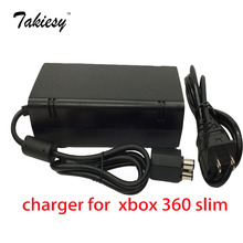 free shipping +1pcs us plug Black AC Adapter Charger Power Source 135w Brick Supply Cord for Xbox 360 Slim