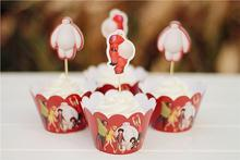 2017 Navidad Free Shipping Big Hero 6 Baymax Cupcake Wrappers&toppers Picks Carton Decoration Kids Birthday Baby Shower Supplie