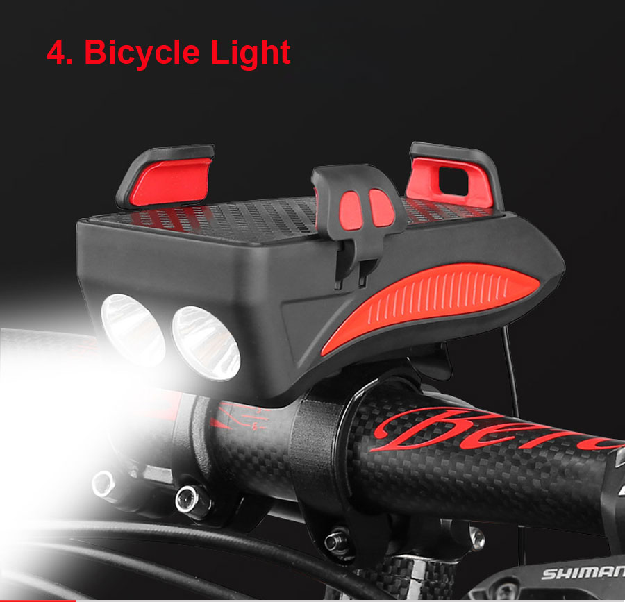 Discount NEWBOLER 4 in 1 Bicycle Light Power Bank 4000mAh Flashlight Bike Horn Alarm Bell Phone Holder Bike Accessories Cycle Front Light 6