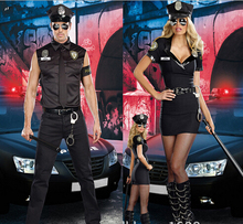 Free shipping New Sexy Couples Black Cop Costumes Halloween for Women Men Game Stage Bar Police Costume Role Cosplay(China)