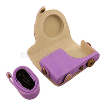 Purple New PU Leather Camera Case Bag for Samsung NX Mini Digital Camera 9mm Lens Shoulder Strap