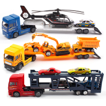 Trailer Vehicle With Helicopter Cars Excavator Bulldozers Model 1:36 Diecast Metal Alloy Truck Model Educational Toys For Boys